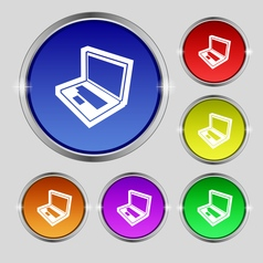 Laptop icon sign Round symbol on bright colourful vector