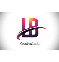 Lb l b purple letter logo with swoosh design vector