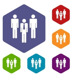 Leader rhombus icons vector image