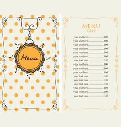Menu for the cafe with price list vector