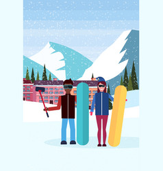 mix race snowboarders couple taking selfie ski vector image