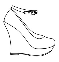 Monochrome silhouette of high heel platform shoe vector