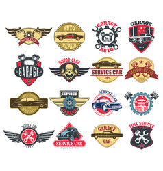 moto or motorcycle car or auto service icons vector image