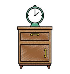 Nightstand bedroom with alarm clock vector