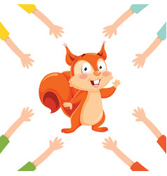 of cartoon hands with squirrel vector image