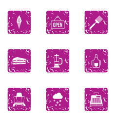 Open icons set grunge style vector