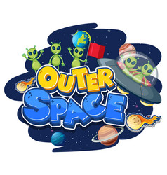 Outer space logo with aliens and ufo vector