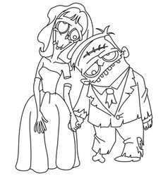 Outlined zombie wedding vector