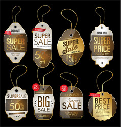 paper price tag retro vintage golden style design vector image