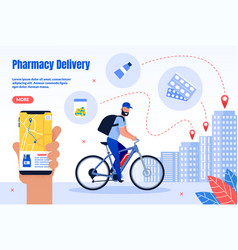 pharmacy courier delivery service webpage vector image