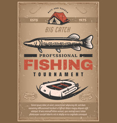 poster for professional fishing tournament vector image