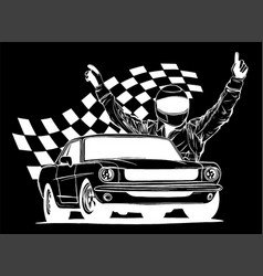 Racing car with checker flag in vector
