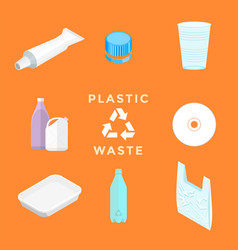 Recycle plastic waste management set vector