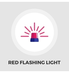 Red flashing emergency light icon flat vector