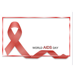 red ribbon with border and text world aids vector image