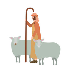 Saint joseph with sheeps manger characters vector