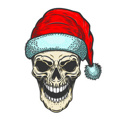 Santa claus skull on white background christmas vector
