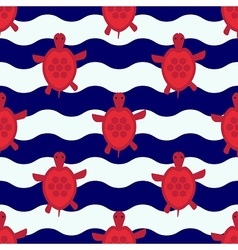 Seamless nautical pattern with little red turtles vector
