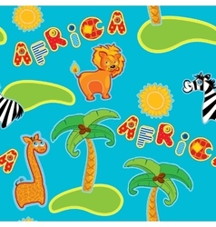Seamless pattern with cartoon animals - giraffe vector