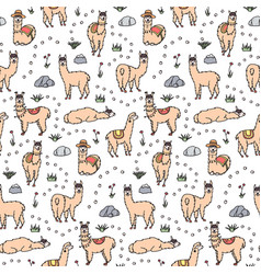 Seamless pattern with lama vector