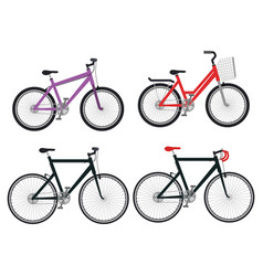 set bicycle styles icons vector image