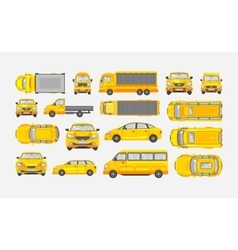 Set cars hatchback delivery truck light truck vector
