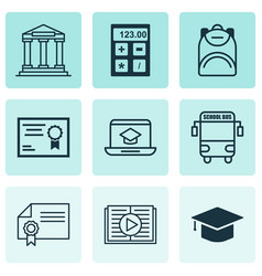 set of 9 education icons includes diploma taped vector image