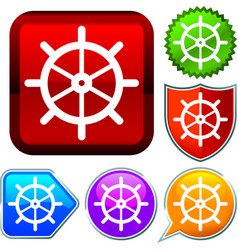 Set shiny icon series on buttons rudder vector