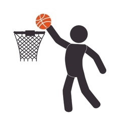 Silhouette human playing basketball vector