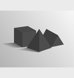 square pyramid tetrahedron cube geometric shapes vector image