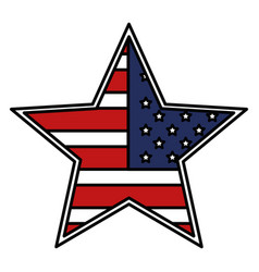 star with usa flag isolated icon vector image vector image