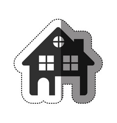 sticker of black silhouette of house two floors vector image