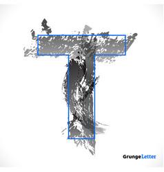 Stylized grunge logo letter t brush strokes vector