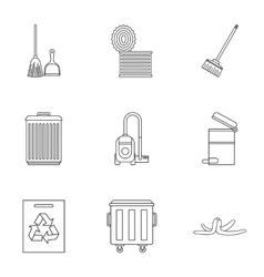 Types of waste icons set outline style vector