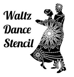 Waltz dance stencil vector