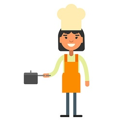 Woman cook chef with a sausepan in hand vector