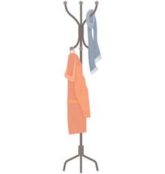 wooden floor coat rack - hanger for cothes vector image