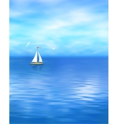 Yacht blue sea landscape vector