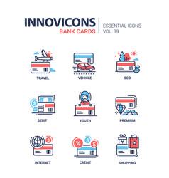 bank cards - modern line design icons set vector image vector image
