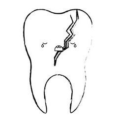Broken kawaii tooth with root in monochrome vector