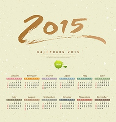 Calendar 2015 text paint brush recycle paper vector image vector image
