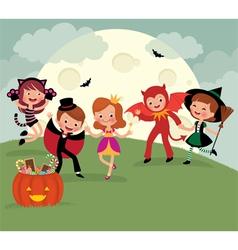 Children on Halloween night party vector image