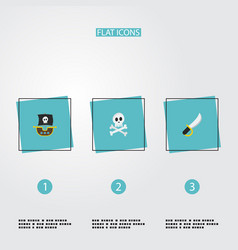 flat icons vessel cranium sabre and other vector image vector image