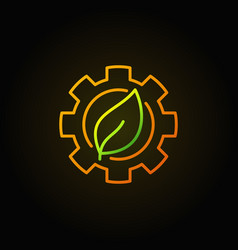 green leaf in gear icon vector image vector image