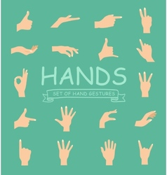 Hand collection on white background vector image