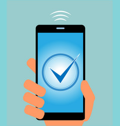 mobile phone with check mark on the display vector image