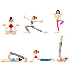 six girls training vector image