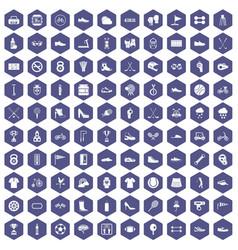 100 sneakers icons hexagon purple vector image