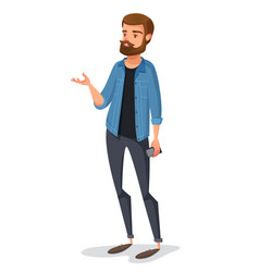 a young male hipster in kazhual clothes talks vector image