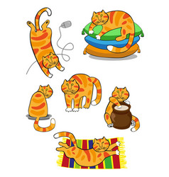 Cat cartoon set vector